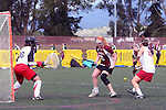 Santa Barbara, CA 02/19/11 - \s36\, Callie Good (Minnesota-Duluth #10) and Victoria Fischman (Stanford #10) in action during the Stanford - Minnesota-Duluth game at the 2011 Santa Barbara Shootout.