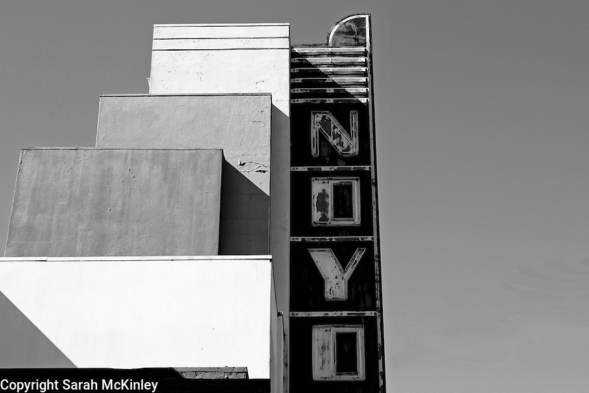The Willits Noyo Theater sign in Willits in Mendocino County in Northern California.