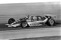 INDIANAPOLIS, IN - MAY 31: Michael Andretti drives his March 86C 17/Cosworth during practice for the Indianapolis 500 USAC Indy Car race at the Indianapolis Motor Speedway in Indianapolis, Indiana, on May 31, 1986.
