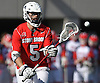Reff Reh #5 Stony Brook catches a pass during an NCAA Division I men's lacrosse game against host St. John's University on Sunday, Feb. 19, 2017. He tallied two assists as Stony Brook rallied from an early 4-0 deficit to win 14-5.