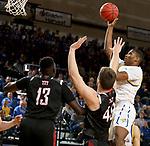 BROOKINGS, SD - FEBRUARY 8: Douglas Wilson #35 of the South Dakota State Jackrabbits shoots against the Nebraska-Omaha Mavericks at Frost Arena February 8, 2020 in Brookings, South Dakota. (Photo by Dave Eggen/Inertia)