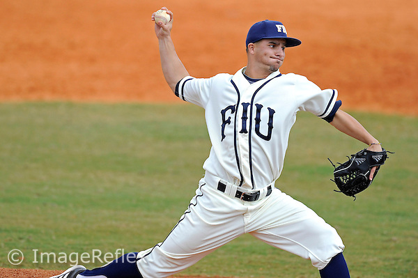 3 March 2013:  FIU right-handed pitcher Mitchell Davis (12) pitches in relief as the University of Mississippi Ole Miss Rebels defeated the FIU Golden Panthers, 8-1, at University Park Stadium in Miami, Florida.