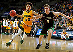 SIOUX FALLS, SD - MARCH 10: Cameron Hunter #22 of the North Dakota State Bison drives past Billy Brown #3 of the North Dakota Fighting Hawks during the men's championship game at the 2020 Summit League Basketball Tournament in Sioux Falls, SD. (Photo by Dave Eggen/Inertia)