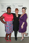 Sydney Stone (center) poses with two models, during the Smart Glamour Spring 2015 collection fasion show by Mallorie Carrington, sponsored by Sydney Stone and Stylaphile at the Thierry-Goldberg Gallery on February 20, 2015.