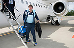 FK Trakai v St Johnstone&hellip;05.07.17&hellip; Europa League 1st Qualifying Round 2nd Leg<br />St Johnstone Manager Tommy Wright steps off the aircraft after landing in Vilnius, Lithuania<br />Picture by Graeme Hart.<br />Copyright Perthshire Picture Agency<br />Tel: 01738 623350  Mobile: 07990 594431