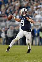 STATE COLLEGE, PA - OCTOBER 13: Penn State QB Trace McSorley (9) throws on the run. The Michigan State Spartans defeated the Penn State Nittany Lions 21-17 on October 13, 2018 at Beaver Stadium in State College, PA. (Photo by Randy Litzinger/Icon Sportswire)