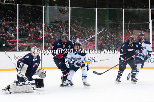 Adam Huska (UConn - 30), Maxim Letunov (UConn - 27), Mitchell Fossier (Maine - 11), Max Kalter (UConn - 18), Rob Michel (Maine - 3) - The University of Maine Black Bears defeated the University of Connecticut Huskies 4-0 at Fenway Park on Saturday, January 14, 2017, in Boston, Massachusetts.