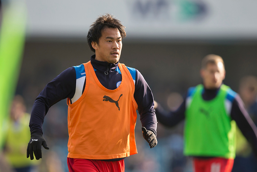 Leicester City's Shinji Okazaki during the pre-match warm-up <br /> <br /> Photographer Craig Mercer/CameraSport<br /> <br /> Emirates FA Cup Fifth Round - Millwall v Leicester City - Saturday 18th February 2017 - The Den - London<br />  <br /> World Copyright &copy; 2017 CameraSport. All rights reserved. 43 Linden Ave. Countesthorpe. Leicester. England. LE8 5PG - Tel: +44 (0) 116 277 4147 - admin@camerasport.com - www.camerasport.com