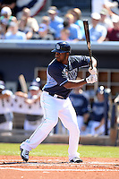 Tampa Bay Rays outfielder Jeremy Moore (73) during a spring training game against the Minnesota Twins on March 2, 2014 at Charlotte Sports Park in Port Charlotte, Florida.  Tampa Bay defeated Minnesota 6-3.  (Mike Janes/Four Seam Images)