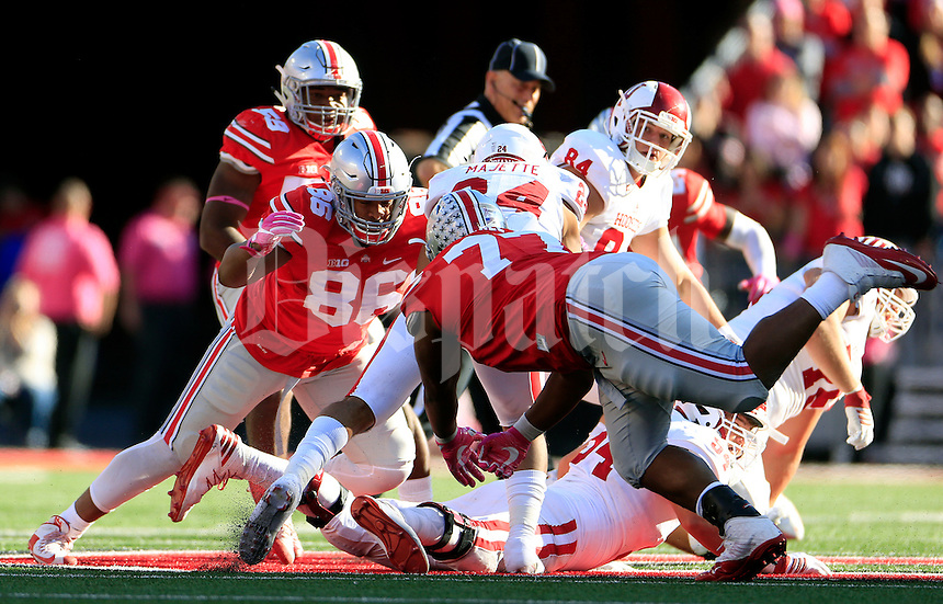 Ohio State Buckeyes defensive lineman Dre'Mont Jones (86) and Ohio State Buckeyes defensive tackle Michael Hill (77) against Indiana Hoosiers during their game in Ohio Stadium in Columbus, Ohio on October 8, 2016.  (Kyle Robertson/ The Columbus Dispatch)