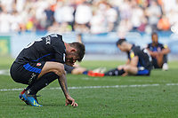 Joe Mattock of Rotherham United and team mates sit dejected on the pitch after the final whistle  during the Sky Bet Championship match between Swansea City and Rotherham United at the Liberty Stadium, Swansea, Wales, UK. Friday 19 April 2019
