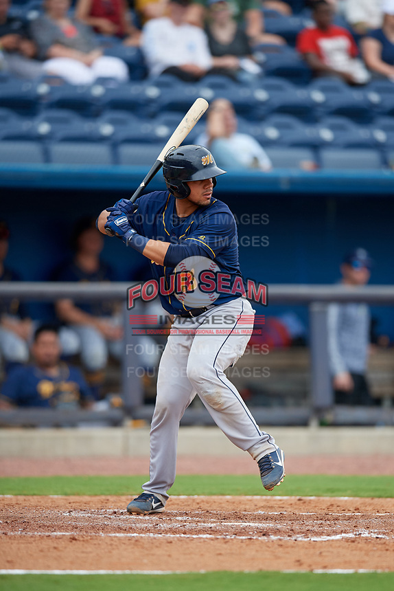Montgomery Biscuits Rene Pinto (13) at bat during a Southern League game against the Biloxi Shuckers on May 8, 2019 at MGM Park in Biloxi, Mississippi.  Biloxi defeated Montgomery 4-2.  (Mike Janes/Four Seam Images)