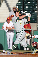 Danny Pulfer #1 of the Oregon Ducks bats against the USC Trojans at Dedeaux Field in Los Angeles,California on April 15, 2011. Photo by Larry Goren/Four Seam Images