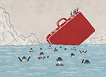 Illustrative image of business people drowning in sea and men on briefcase representing cost cutting and insurance