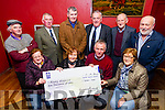 Abbeydorney Ploughing Society and the ICA presented at a cheque for €1000.00 to the Kerry Hospice at McElligott's Bar, Abbeydorney on Tuesday. Pictured Front l-r Eileen McCarthy, Margaret Shanahan, Dan Galvin, Kerry Hospice, Peg Gill, Back l-r Sonny Egan, Michael Fitzmaurice, Mundy Hayes, Tom O'Mahony, DJ O'Connell and Barney Dowling