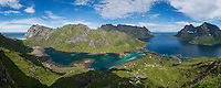 Panoramic view of Bunesfjord and Reinefjord, near Vindstad, Moskenesøy, Lofoten Islands, Norway