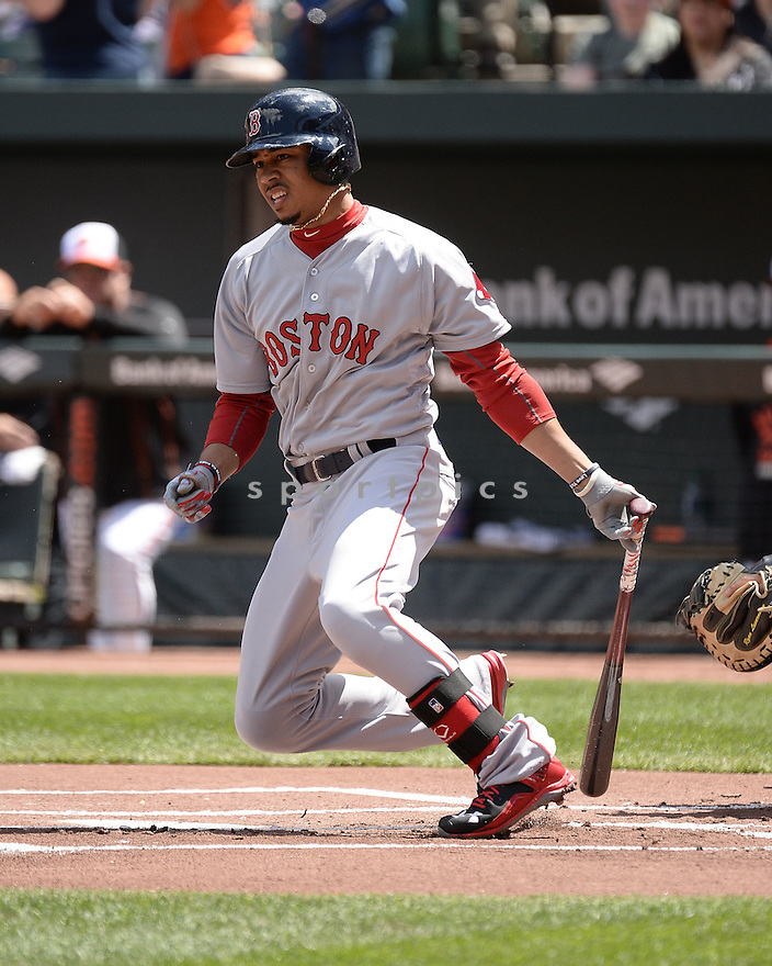 Boston Red Sox Mookie Betts (50) during a game against the Baltimore Orioles on April 26, 2015 at Oriole Park in Baltimore, MD. The Orioles beat the Red Sox 18-7.