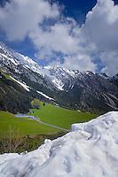 Farm buildings of the Hahntennjoch pass,  between Imst and Elmen. Imst district, Tyrol/ Tirol, Austria.