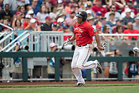 Texas Tech Red Raiders first baseman Cameron Warren (11) sprints towards the plate during Game 5 of the NCAA College World Series against the Arkansas Razorbacks on June 17, 2019 at TD Ameritrade Park in Omaha, Nebraska. Texas Tech defeated Arkansas 5-4. (Andrew Woolley/Four Seam Images)