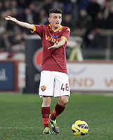 Calcio, Serie A: Roma vs Cagliari. Roma, stadio Olimpico, 1 febbraio 2013..AS Roma midfielder Alessandro Florenzi gestures during the Italian Serie A football match between AS Roma and Cagliari, at Rome's Olympic stadium, 1 February 2013..UPDATE IMAGES PRESS/Riccardo De Luca