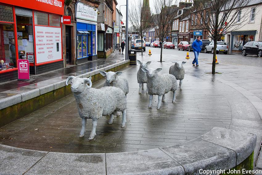Sheep sculptures at Lockerbie, Dumfries and Galloway, Scotland.