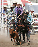 Wyatt Williams of Pahrump competes in the Senior Boys Breakaway Roping event at the Fallon Junior Rodeo.  Photo by Tom Smedes.