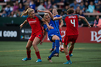 Seattle, WA - Saturday, July 1, 2017:  Allie Long, Merritt Mathias and Emily Menges during a regular season National Women's Soccer League (NWSL) match between the Seattle Reign FC and the Portland Thorns FC at Memorial Stadium.