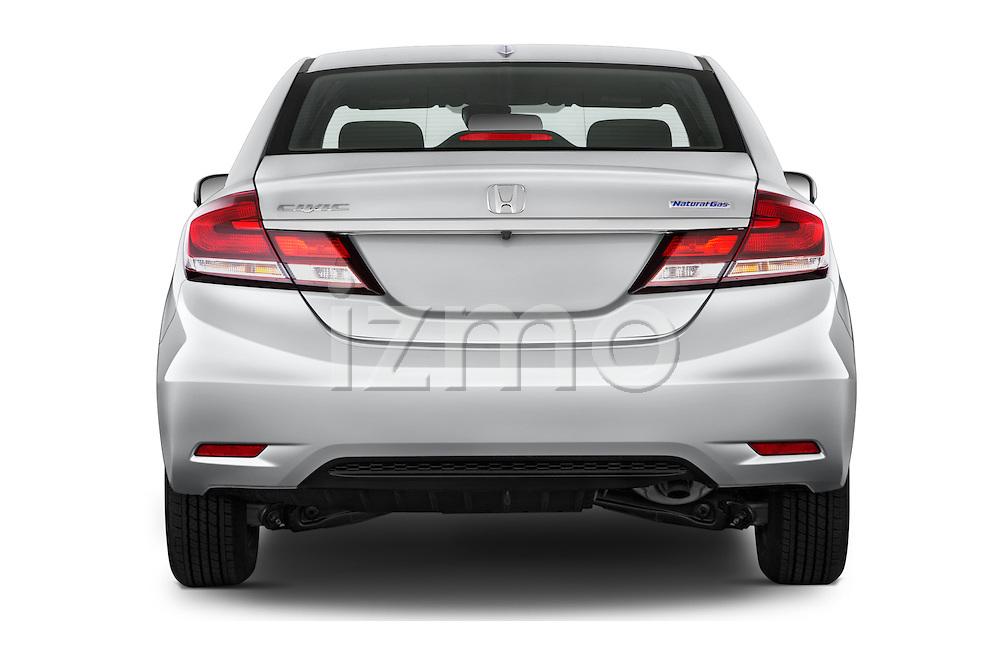 Straight rear view of a 2015 Honda Civic CNG 4 Door Sedan stock images