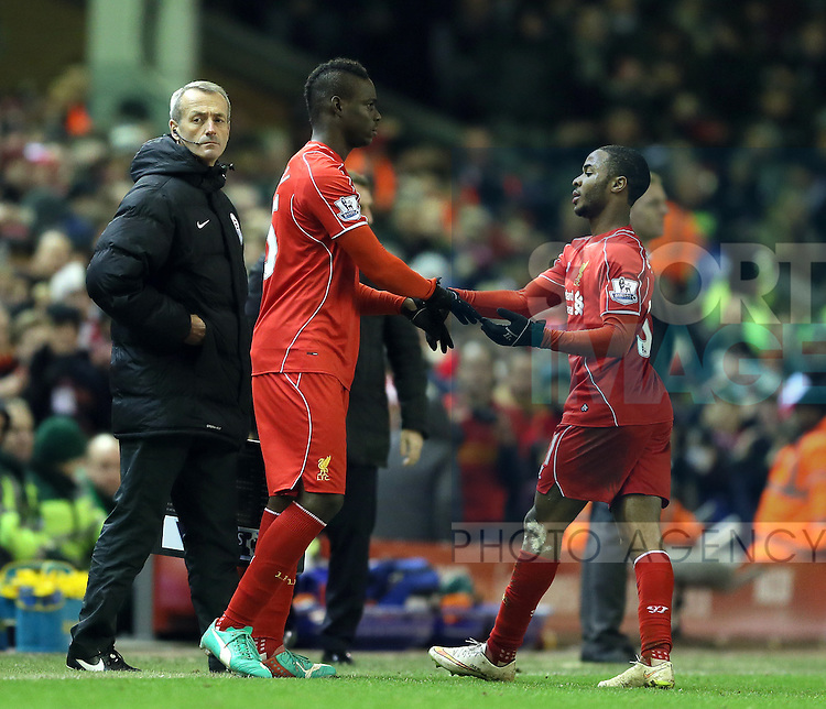 Mario Balotelli of Liverpool comes on for Raheem Sterling of Liverpool - Barclays Premier League - Liverpool vs Swansea City - Anfield Stadium - Liverpool - England - 29th December 2014  - Picture Simon Bellis/Sportimage