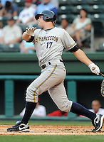May 28, 2009: Infielder Mike Lyon (17) of the Charleston RiverDogs, Class A affiliate of the New York Yankees, in a game against the Greenville Drive at Fluor Field at the West End in Greenville, S.C. Photo by: Tom Priddy/Four Seam Images