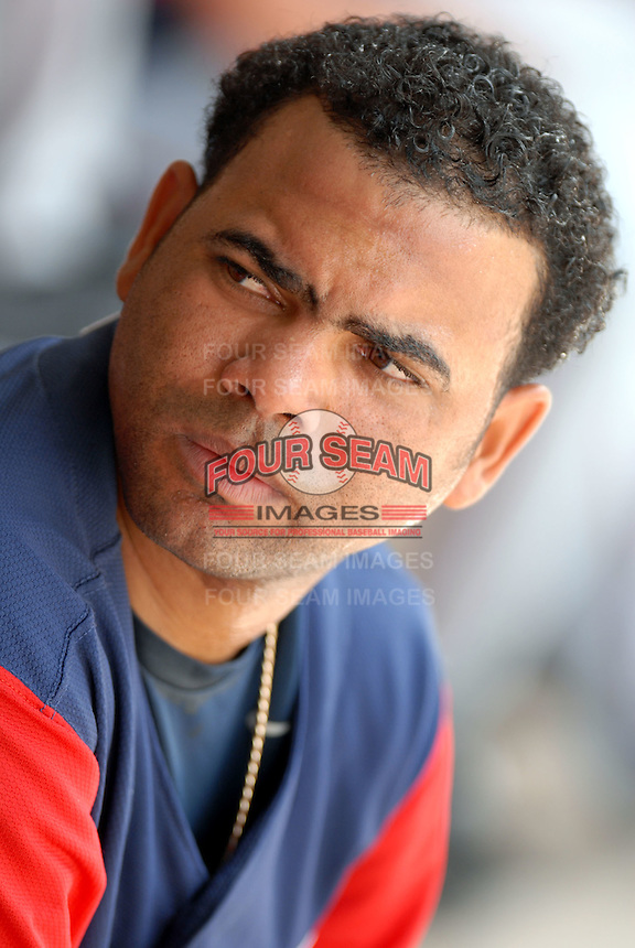 Catcher Alvin Colina of the Gwinnett Braves, the AAA International League affiliate of the Atlanta Braves,at McCoy Stadium in Pawtucket, RI 5-2-09 (Photo by Ken Babbitt/Four Seam Images)