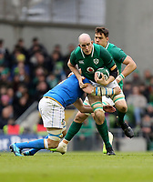 Saturday 10th February 2018 | Ireland vs Italy<br /> <br /> Devin Toner is tackled by Sebastien Negri during the Six Nations Rugby Championship match between Ireland and Italy at the Aviva Stadium, Lansdowne Road,  Dublin Ireland. Photo by John Dickson / DICKSONDIGITAL