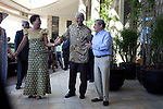 CAPE TOWN, SOUTH AFRICA – APRIL 2: Former President Nelson Mandela of South Africa and his wife Graca Machel is welcomed by Sol Kerzner on April 2, 2009 at the One&Only hotel in Cape Town, South Africa. Mr. Kerzner, a hotel magnate, invited Mr. Mandela to the opening of his latest hotel located at the W&A Waterfront in the city. (Photo by Per-Anders Pettersson)