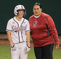 STANFORD, CA - April 15, 2011:  Michelle Prong with Coach Claire Sua-Amundson during Stanford's 7-0 victory over Oregon State at Stanford, California on April 15, 2011.