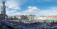 Bruges Marketsquare pano with riders at the start<br /> <br /> 99th Ronde van Vlaanderen 2015