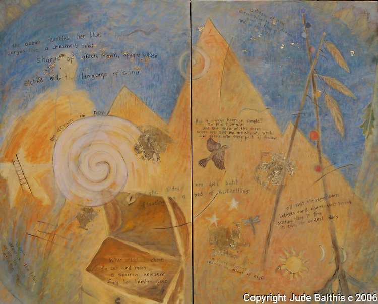 """Oil painting and poem on canvas with gold leaf.  The Dream is Now by Jude Balthis. Diptych. 48"""" x 60"""""""