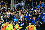 28th September 2017, Goodison Park, Liverpool, England; UEFA Europa League group stage, Everton versus Apollon Limassol; Apollon fans taunt Everton fans after their team made it 2-2 in the 88th minute