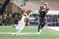 FOXBOROUGH, MA - OCTOBER 27: New England Patriots Wide Receiver Phillip Dorsett #13 catches a pass with Cleveland Browns Cornerback Greedy Williams #26 in pursuit during a game between Cleveland Browns and New Enlgand Patriots at Gillettes on October 27, 2019 in Foxborough, Massachusetts.