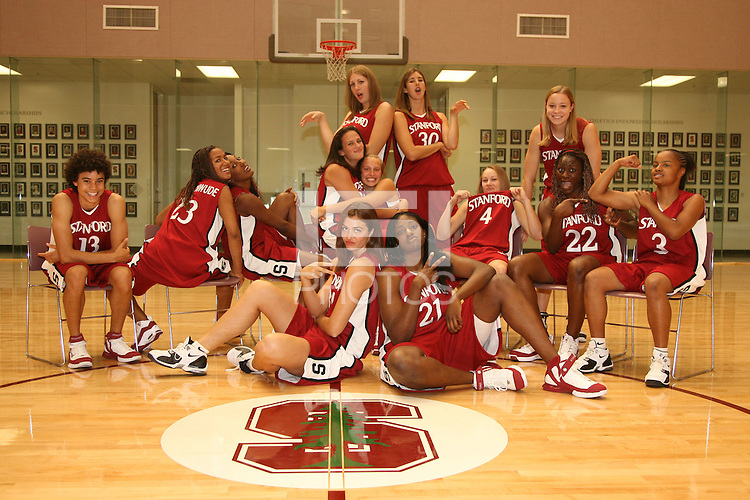 6 October 2005: Morgan Clyburn, Kristen Newlin, Shelley Nweke, Brooke Smith, Jillian Harmon, Christy Titchenal, Cissy Pierce, Rosalyn Gold-Onwude, Krista Rappahahn, Candice Wiggins, Clare Bodensteiner, Eziamaka Okafor, and Markisha Coleman at the Arrillaga Family Sports Center in Stanford, CA. (not in order)
