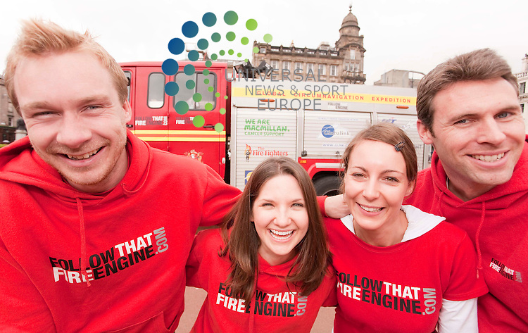 L-r Garth Moore (32) Gemma Rowland (28) Amy Harpin (31) James Morrow (32), Wakefeild,  .   Follow that Fire Engine'.in which a group of friends try to circumnavigate the globe in a fire.engine. The tour is is in memory of crew member Steve Moore's father Garth.who died of lung cancer in 2009 and the group are raising funds for.Macmillan Cancer Support, The Fire Fighters Charity and The Roy Castle Lung.Cancer Foundation Picture Credit / Johnny Mclauchlan/Universal News and Sport, Scotland. 20/05/10....