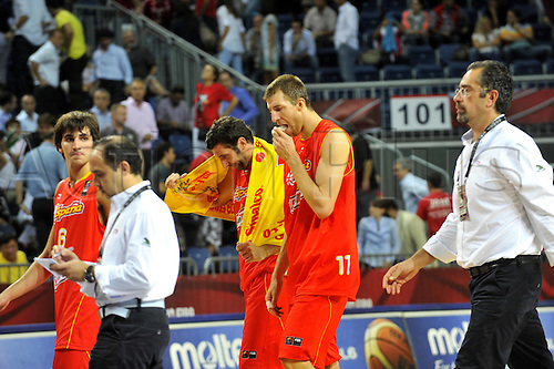 Sep 08, 2010; Istanbul, TURKEY; Serbia defeats Spain 92:89 in a quarterfinal match of the 2010 FIBA World Championship at the Abdi Ipekci Arena. Disappointed players of Spain.