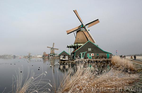 Nederland Zaanse Schans. 2017-01-18 .  Winter in Zaanse Schans. Molen de Kat.  Foto Berlinda van Dam / Hollandse Hoogte