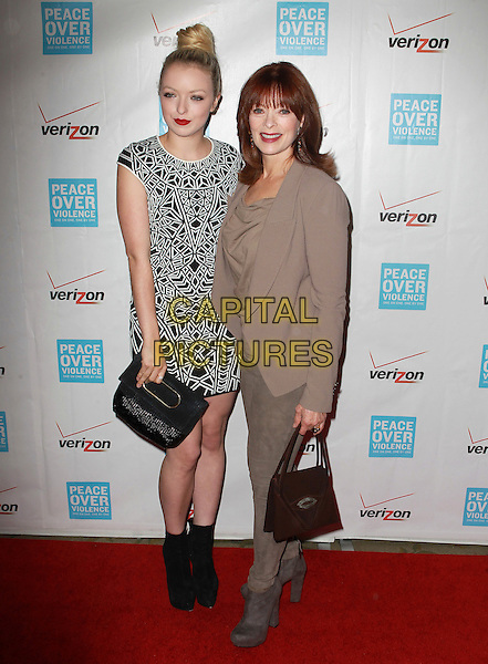 Francesca Eastwood, Frances Fisher.41st Annual Peace Over Violence Humanitarian Awards Held At The Beverly Hills Hotel, Beverly Hills, California, USA, 26th October 2012..full length beige jacket top jeans  suede grey gray ankle boots black white print dress ankle boots patterned bag mother daughter family .CAP/ADM/KB.©Kevan Brooks/AdMedia/Capital Pictures.