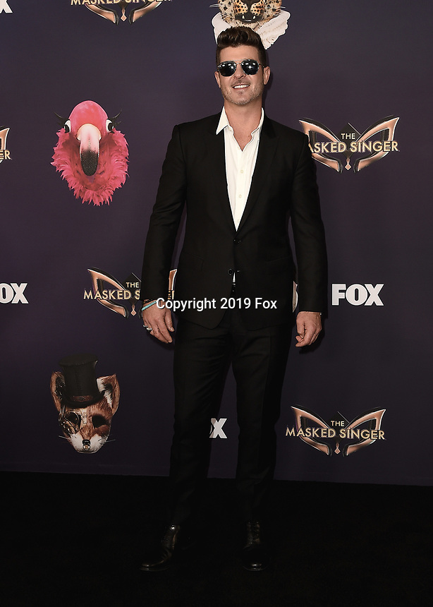 "BEVERLY HILLS - SEPTEMBER 10:  Robin Thicke attends the season two premiere event for FOX's ""The Masked Singer"" at The Bazaar at the SLS Beverly Hills on September 10, 2019 in Beverly Hills, California. (Photo by Scott Kirkland/FOX/PictureGroup)"