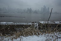 WEEHAWKEN NYJ- FEBRUARY 20: The New York skyline is see as Snow falls on February 20, 2019 from Weehawken New Jersey.  (Photo by Kena Betancur/VIEWpress/Corbis via Getty Images)