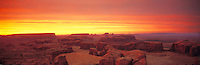Sunset skies over Hunts Mesa, Monument Valley, Arizona / Utah    Colors from forest fires  Panoramic view of Monument Valley from the South