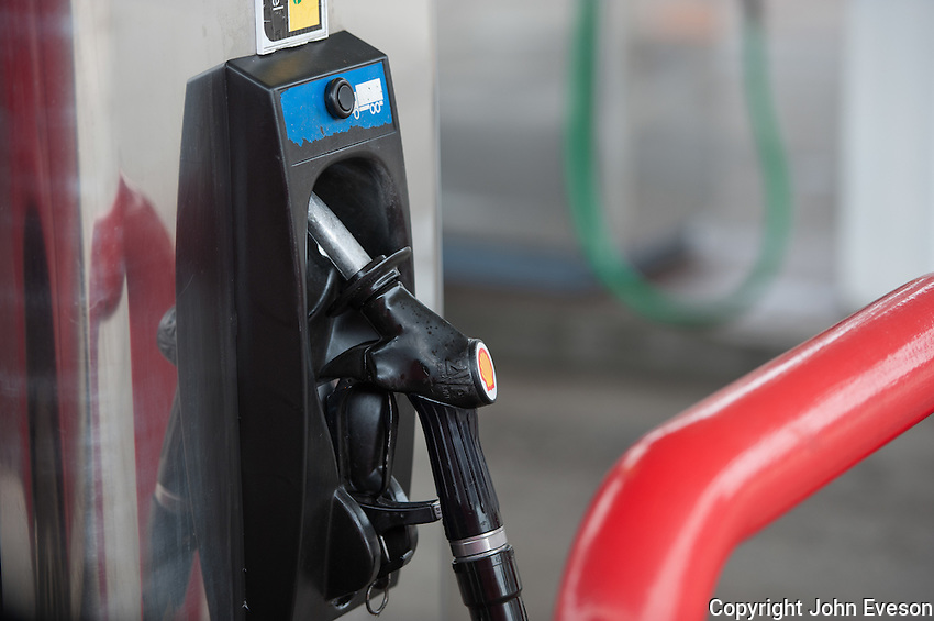 Diesel pump in a Shell garage, Lancashire.