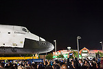 October 13, 2012 - The Space Shuttle Endeavour makes an overnight stop in front of Krispy Kreme at Baldwin Hills Crenshaw Plaza on its final move through the streets of Los Angeles to its new home at the California Science Center in Exposition Park.