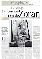 LE MONDE (main French daily newspaper)..2007/02/01.The widow of former Serbian prime-minister Djindjic..Photo: Djordje JOvanovic