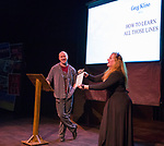 Mary Bennett introduces Greg Klino during the Take 5 fundraiser at the Bruka Theatre on Saturday night, Jan. 13, 2018.